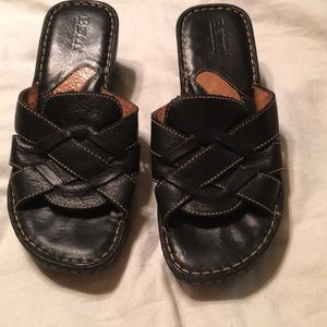 Born black leather wedge sandals